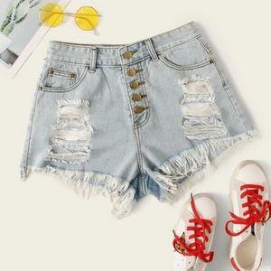 Shein High Waist Heavy Distressed Jean Shorts XS